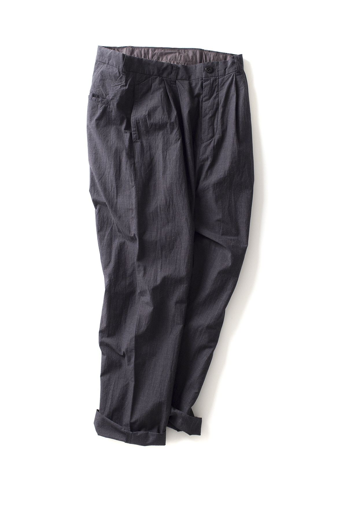 maillot : Heather Cotton Tuck Tapered Pants (Charcoal)