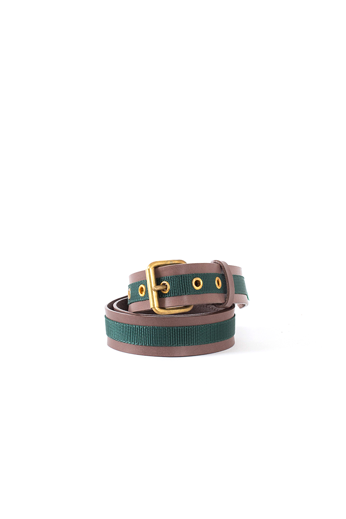 kolor / BEACON : Nylon Taped Leather Belt (Brown)