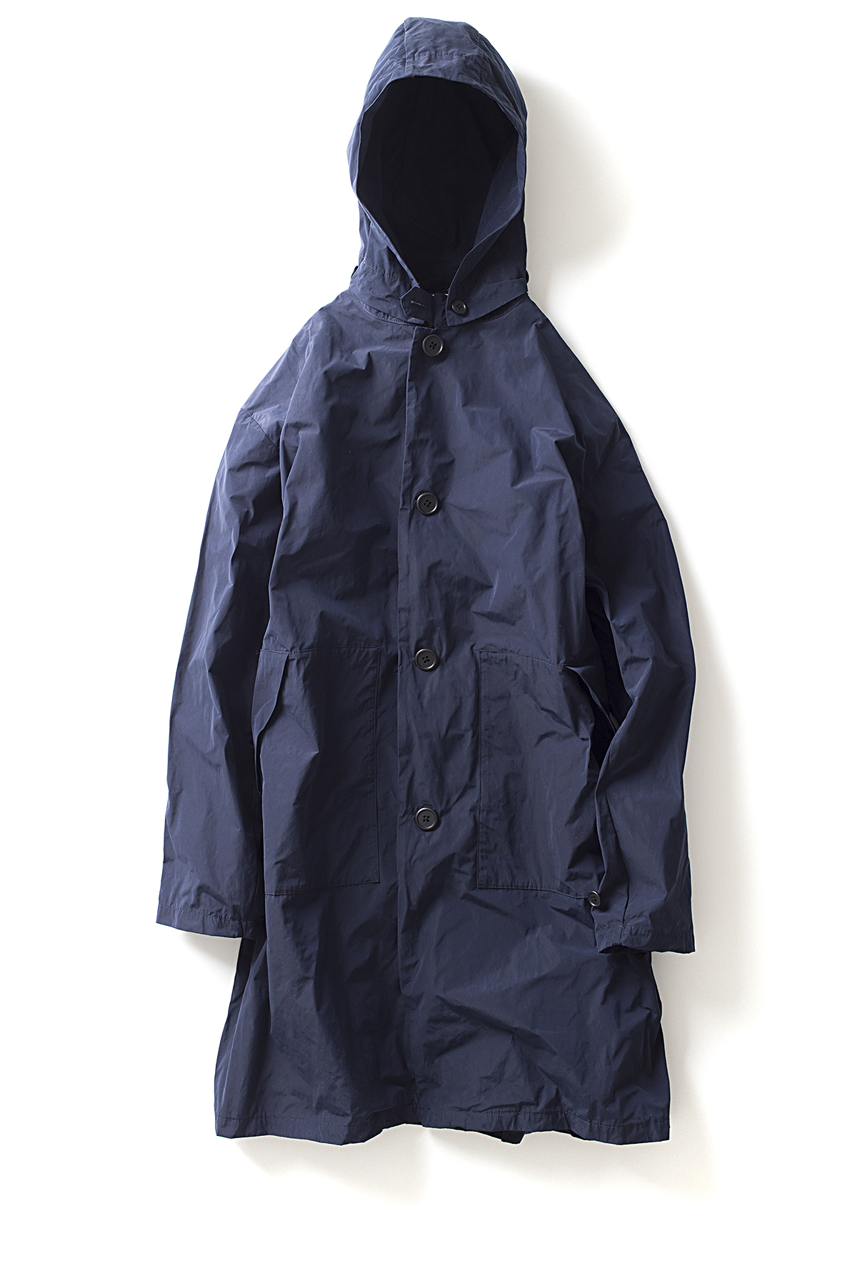 Still By Hand : Hooded Coat (Navy)