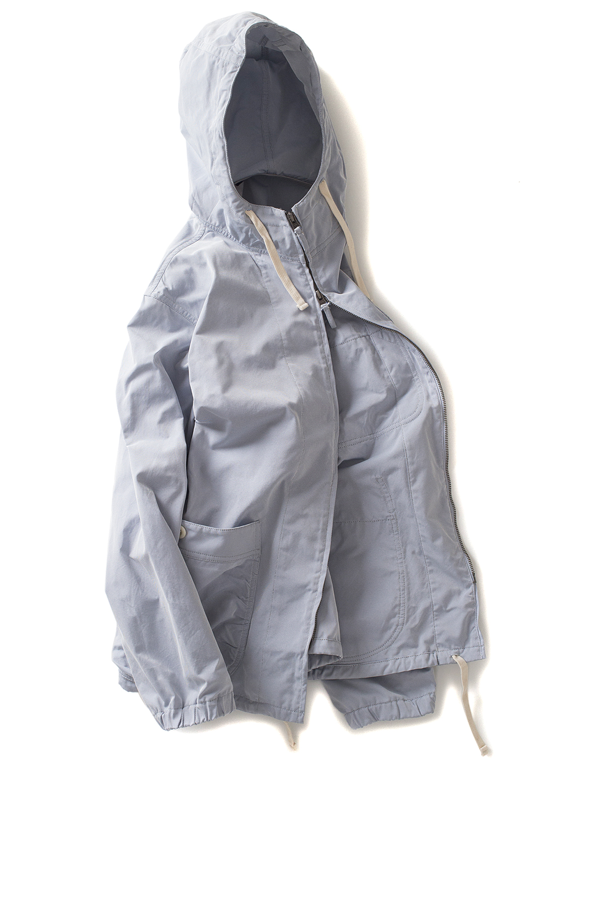 Ts(s) : Gathered Round Pocket Zip-up Parka (Gray Blue)