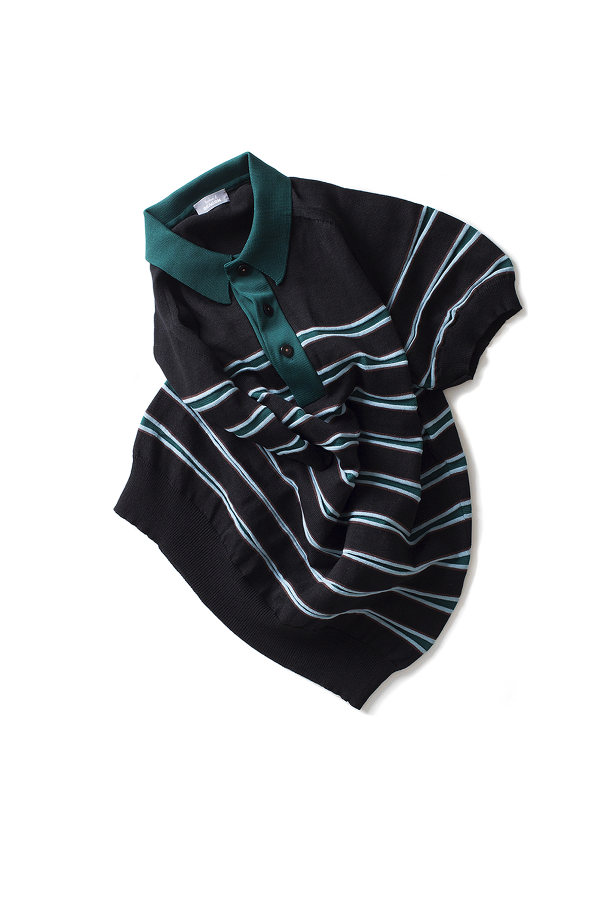 kolor / BEACON : Stripe Polo Shirt (Black)