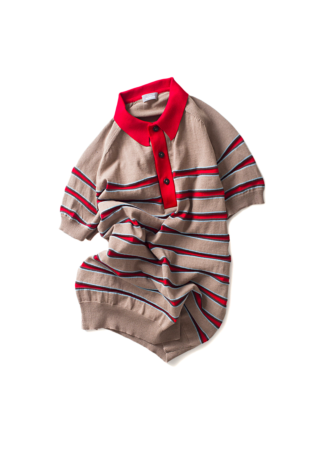 kolor / BEACON : Stripe Polo Shirt (Beige)