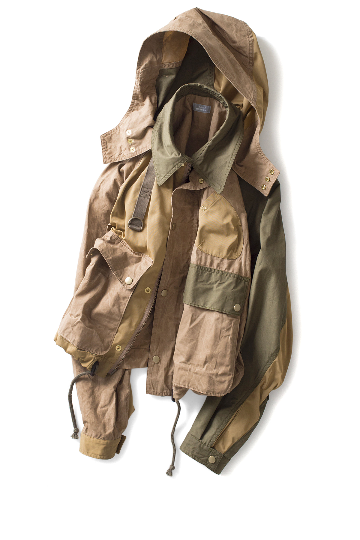 kolor / BEACON : Paraffin Coated Jacket (Beige x Khaki)