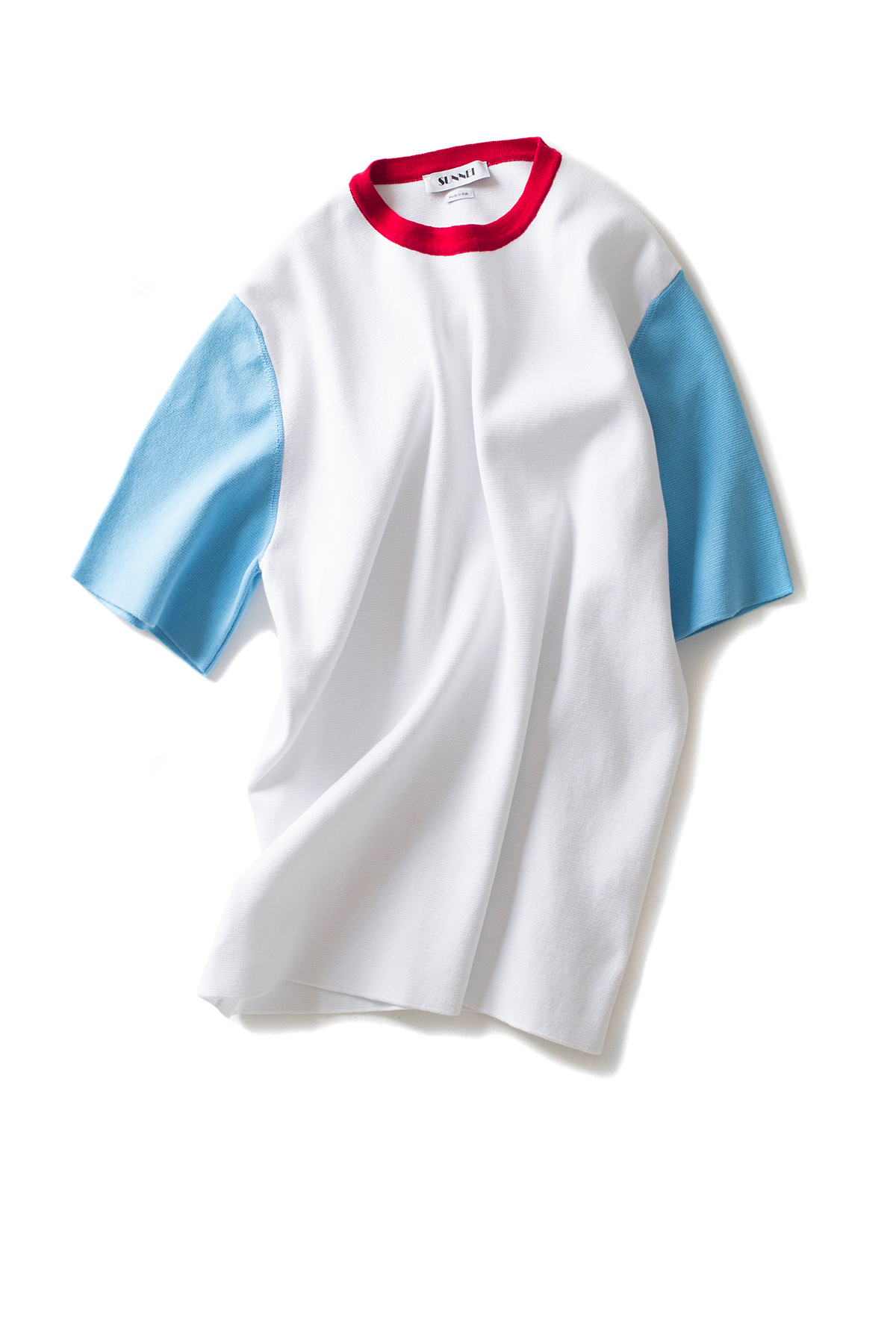 SUNNEI : Knit T-Shirts S/S (White / Azure / Red Wine)