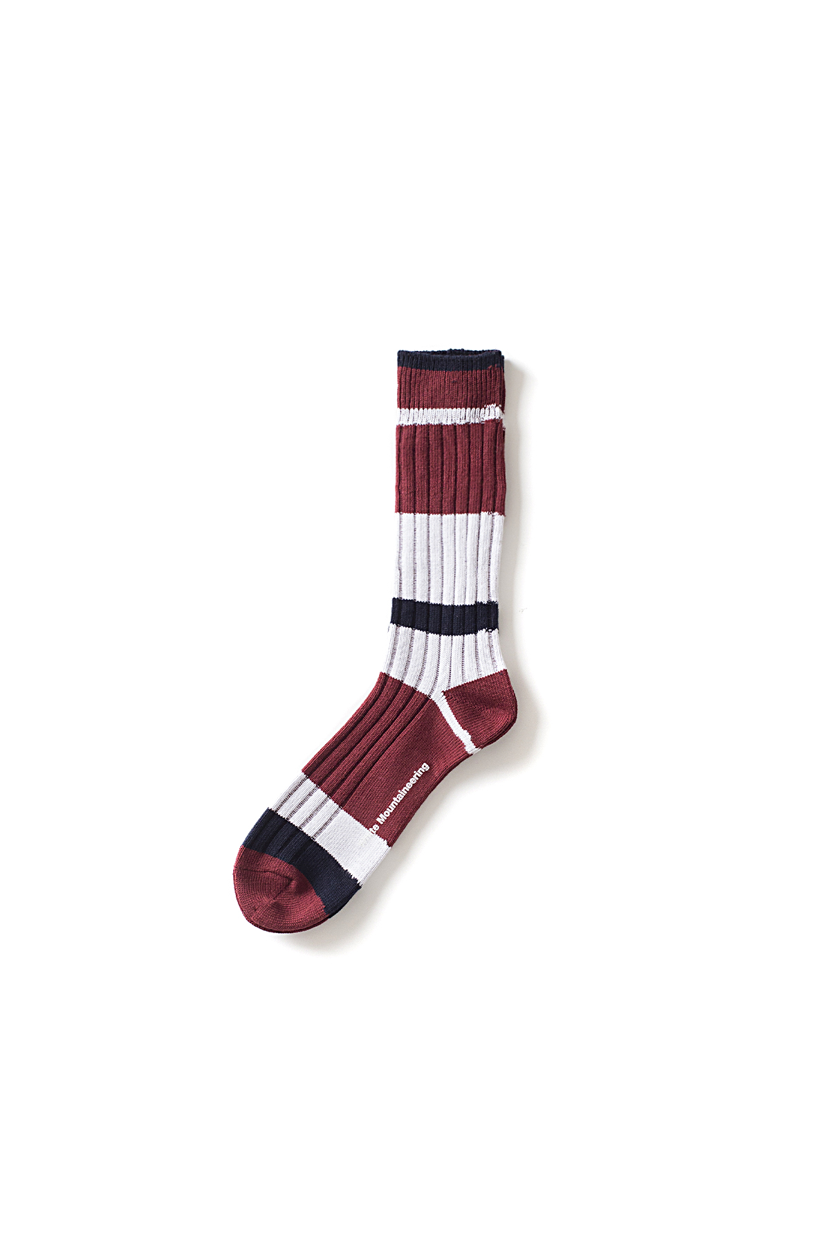 WHITE MOUNTAINEERING : Multi Border Middle Socks (Burgundy / Navy)