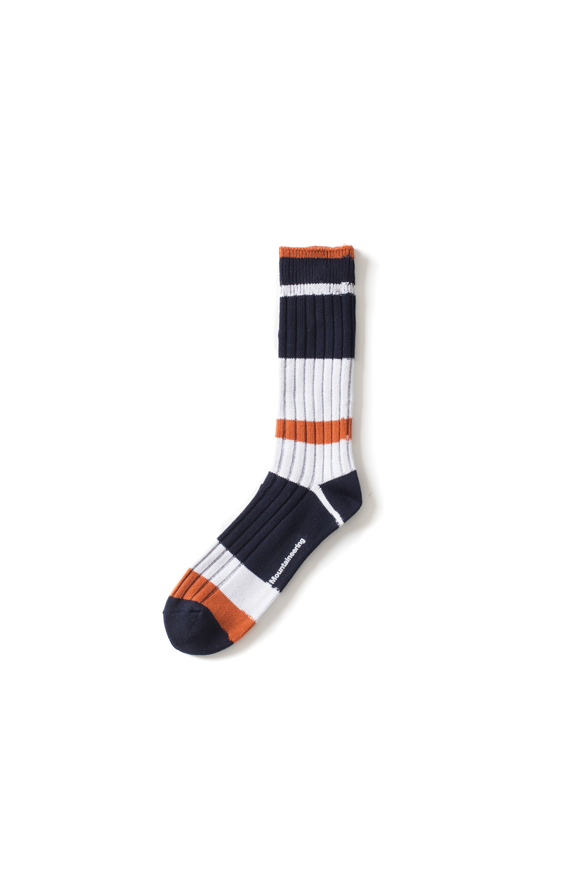 WHITE MOUNTAINEERING : Multi Border Middle Socks (Navy / Orange)