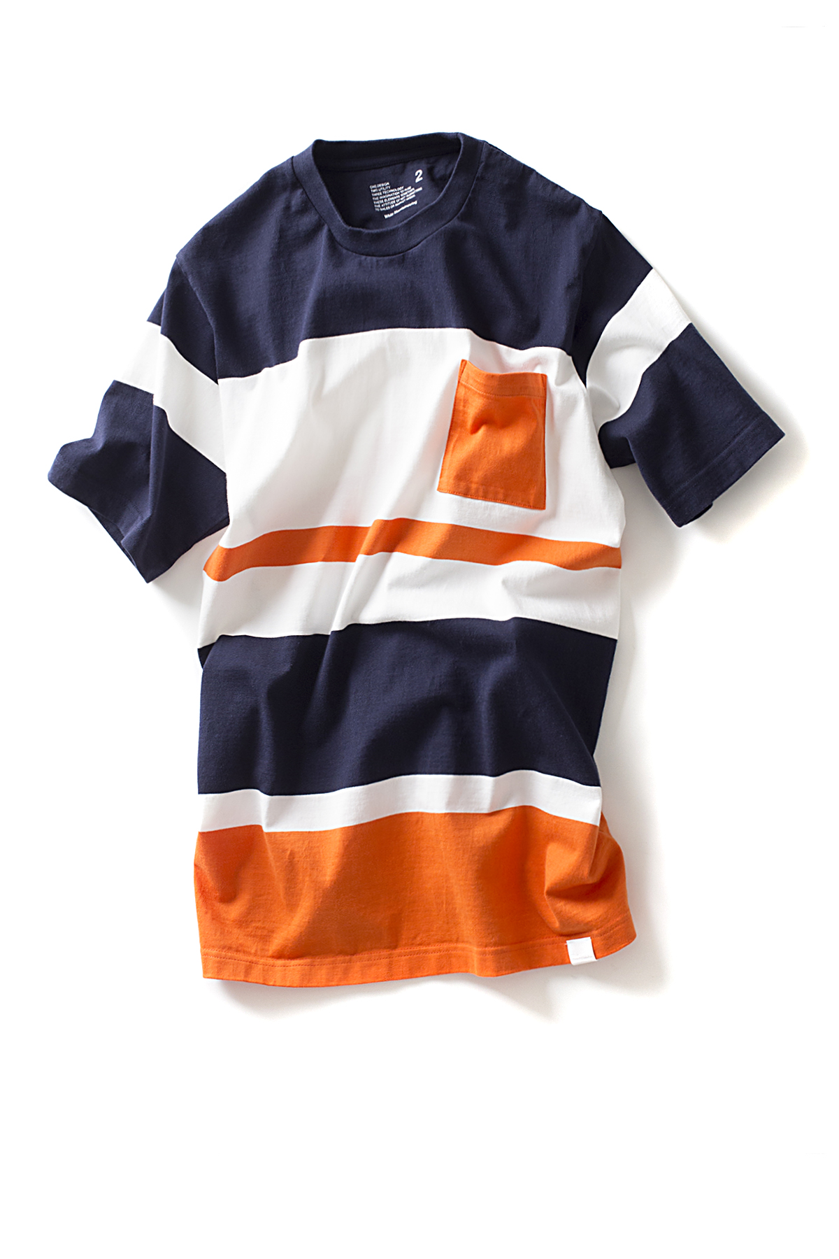 WHITE MOUNTAINEERING : Multi Border Pocket T-Shirts (Navy / Orange)