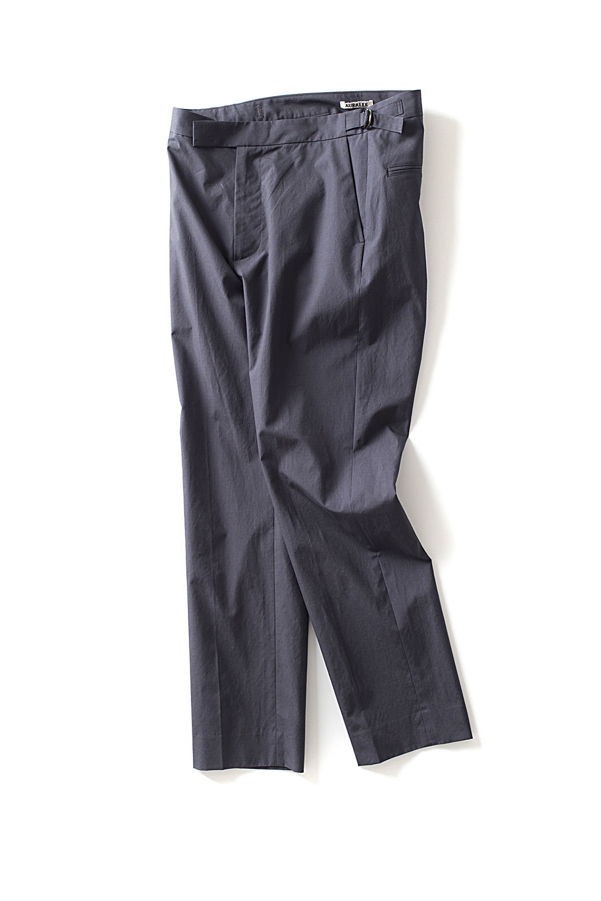 Auralee : Washed Finx Ripstop Slacks (Ink Black)