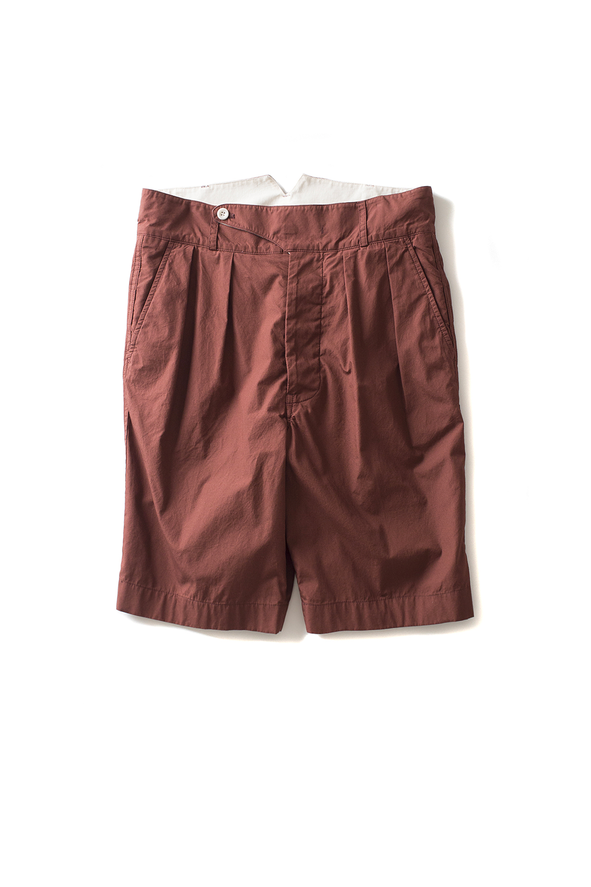 Document : Fine Cotton Tucked Shorts (Brown)