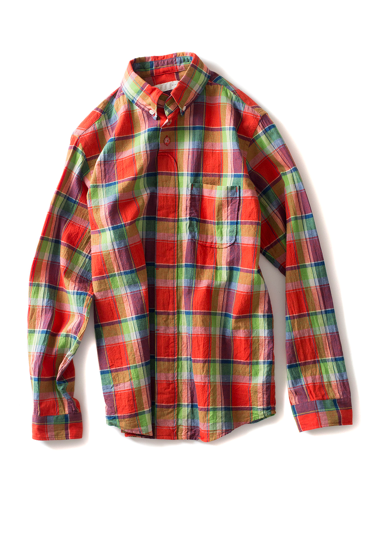 nisica : B.D Check Shirt (Orange)
