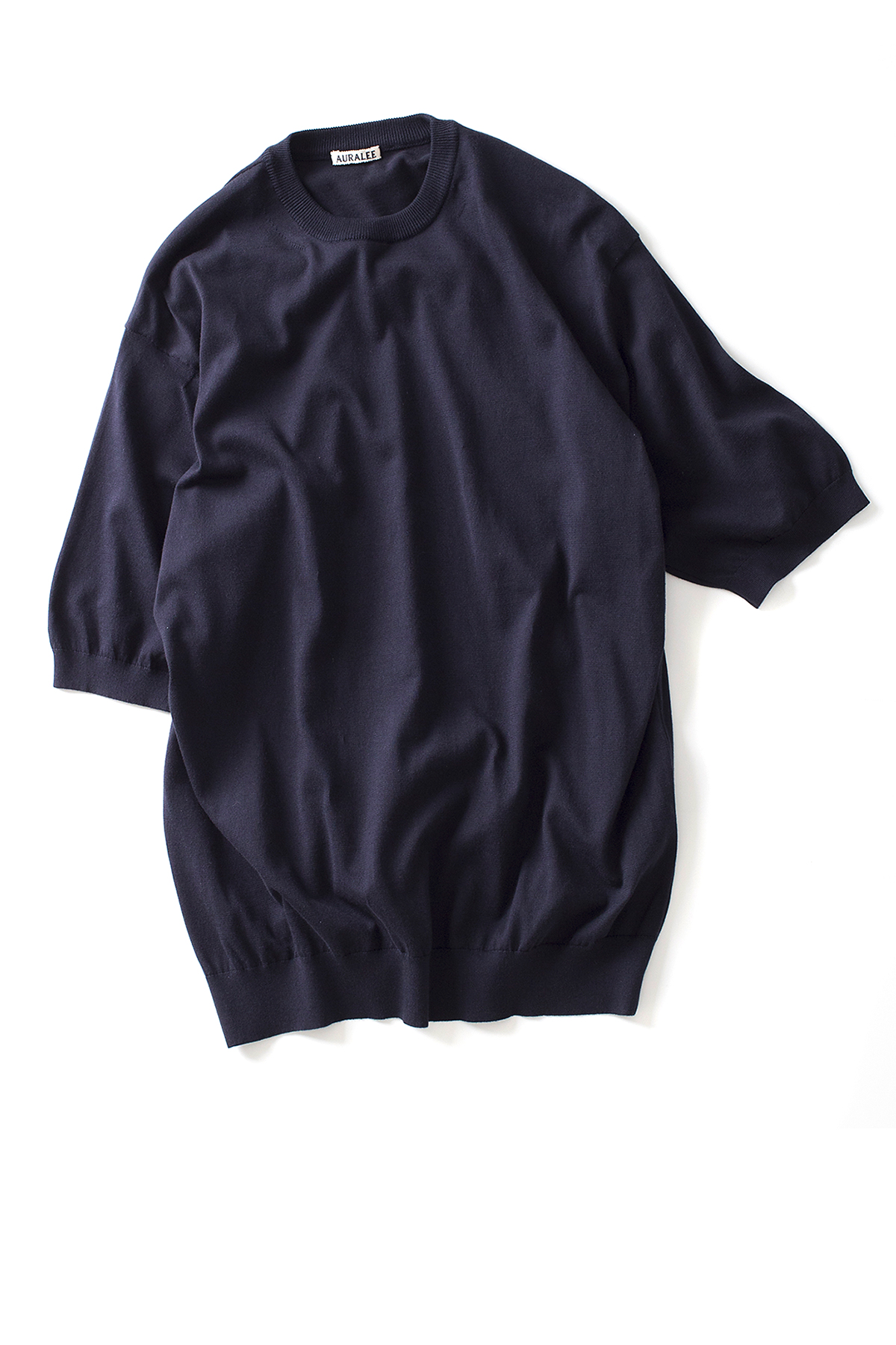 Auralee : Superfine High Gauge Big Knit Tee (Navy)