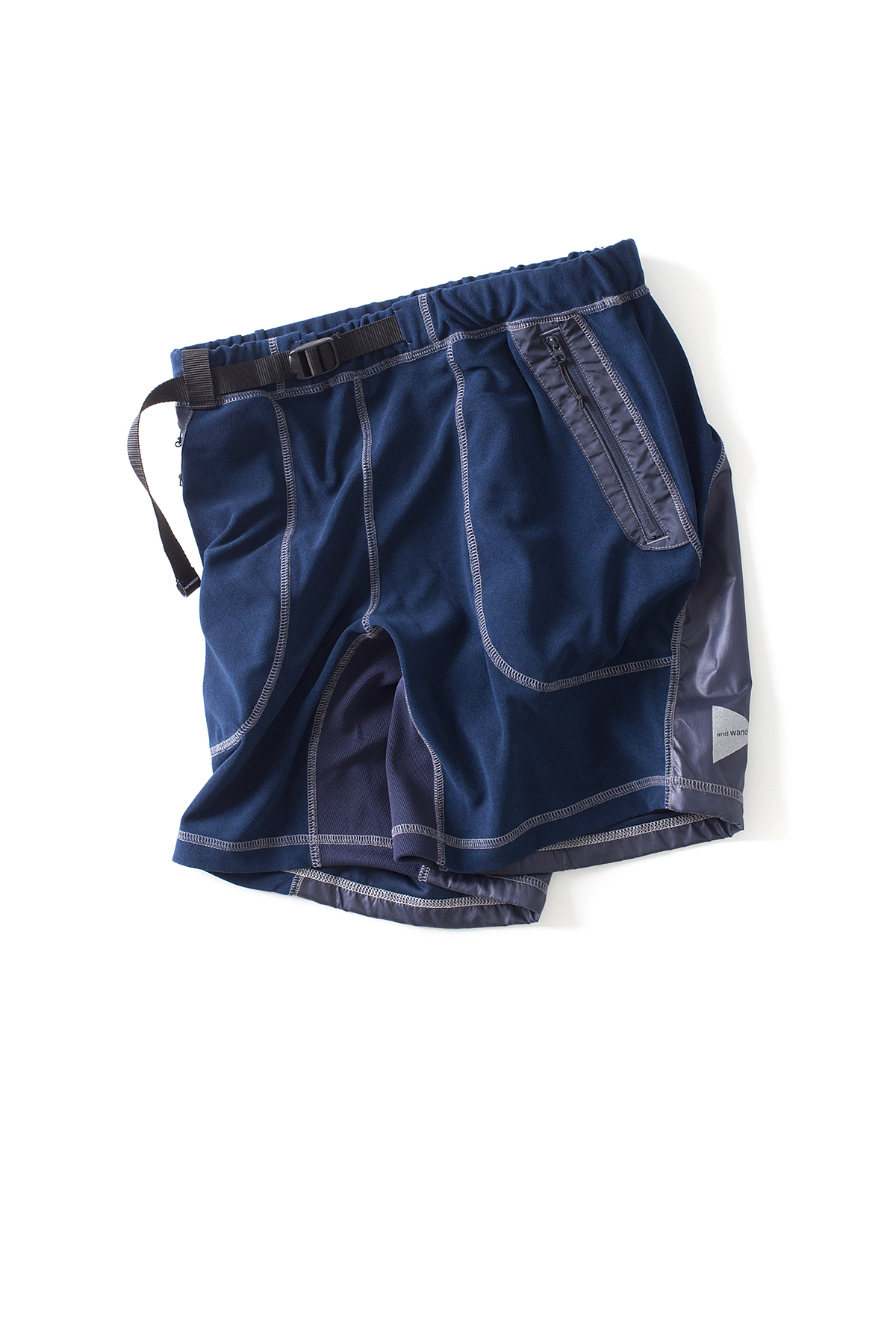 and wander : Mixed Pile Short Pants (Navy)
