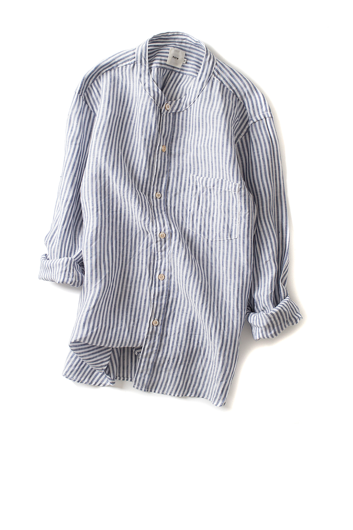 RINEN : Linen Plain Weave Stand Color Shirt (Grey Stripe)