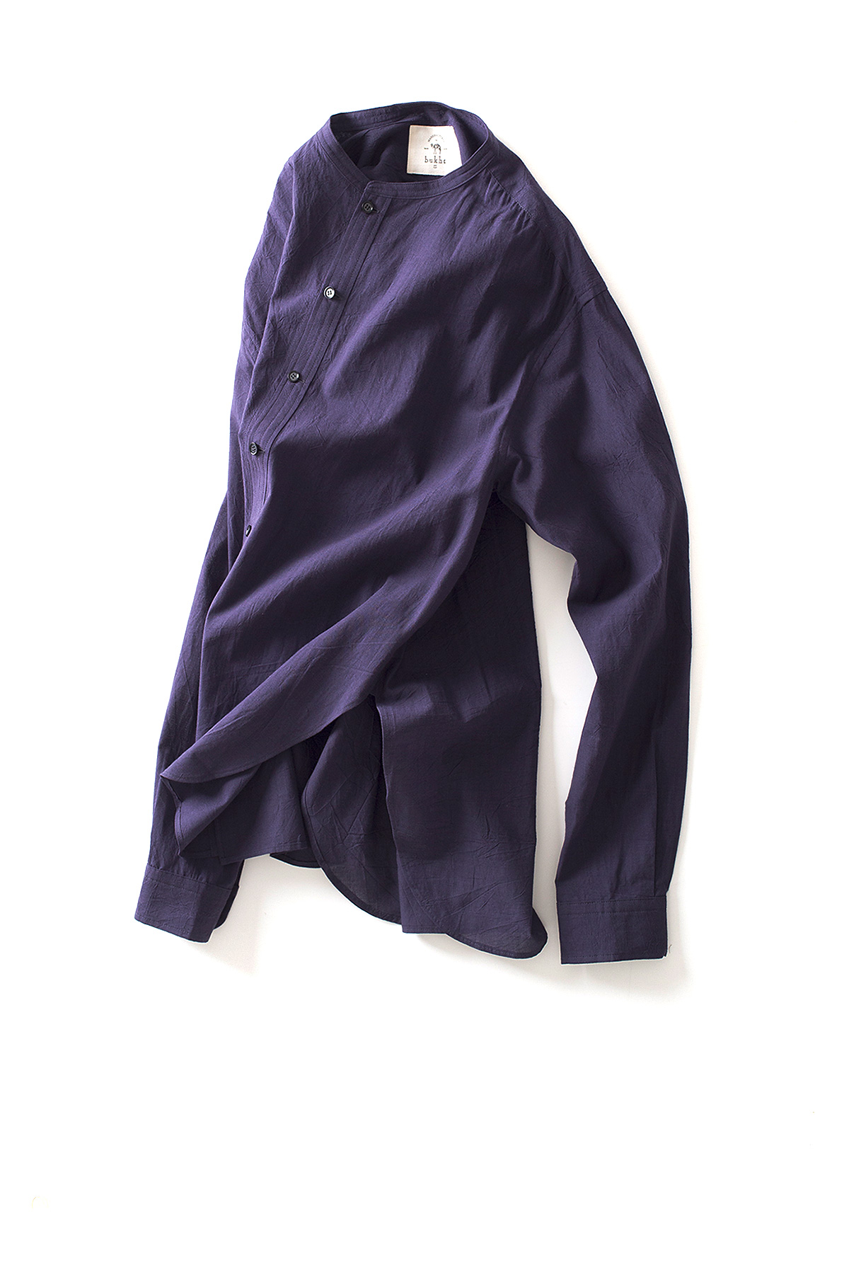bukht : New Band Collar Shirt (Navy Purple)
