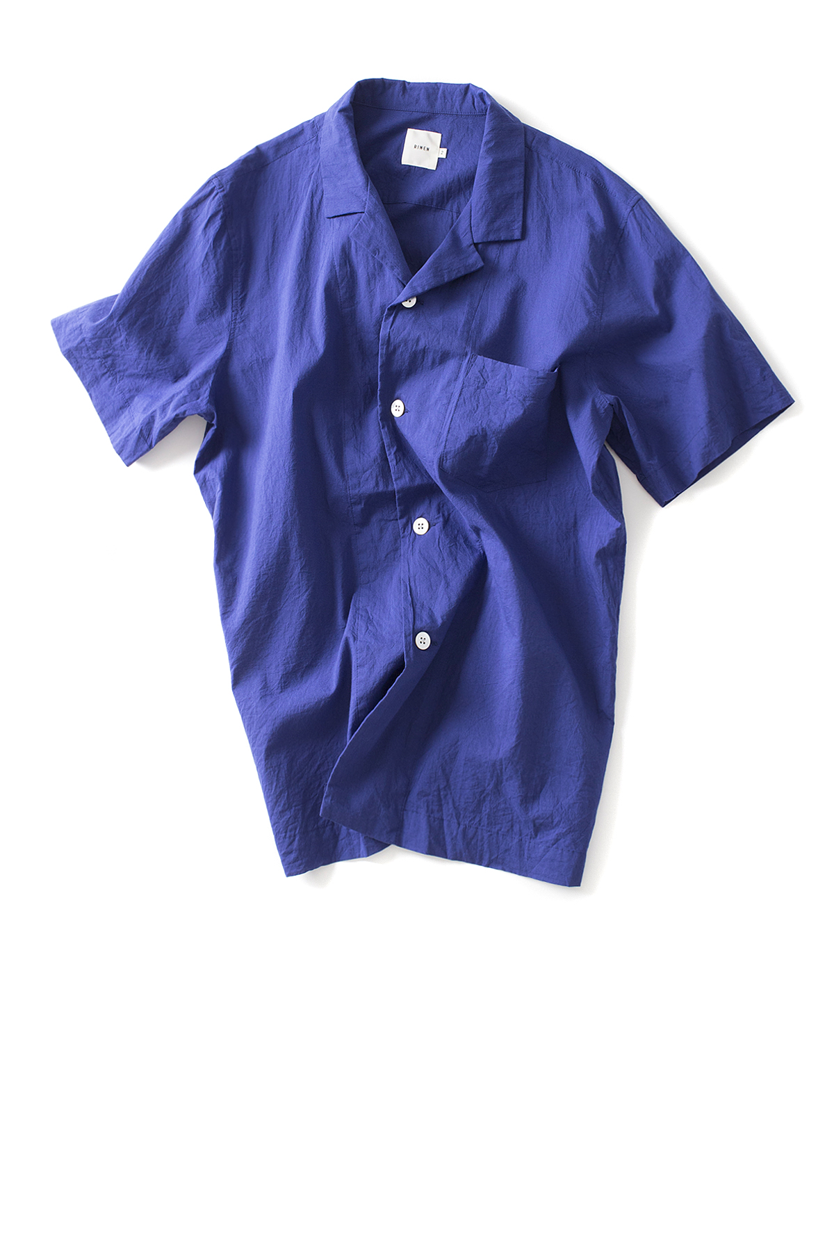 RINEN : Open Collar Shirt (Blue)