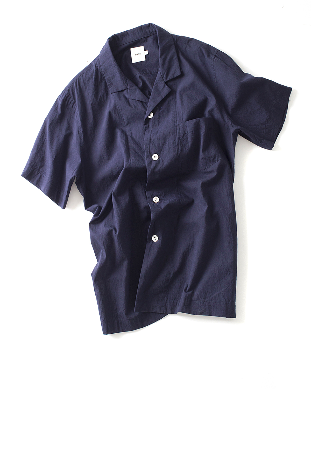 RINEN : Open Collar Shirt (Navy)