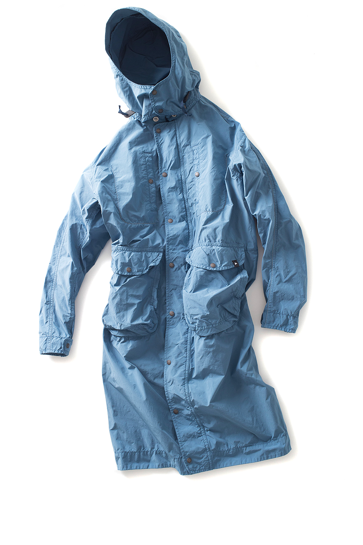 and wander : Garment Dyed Coat (Blue)