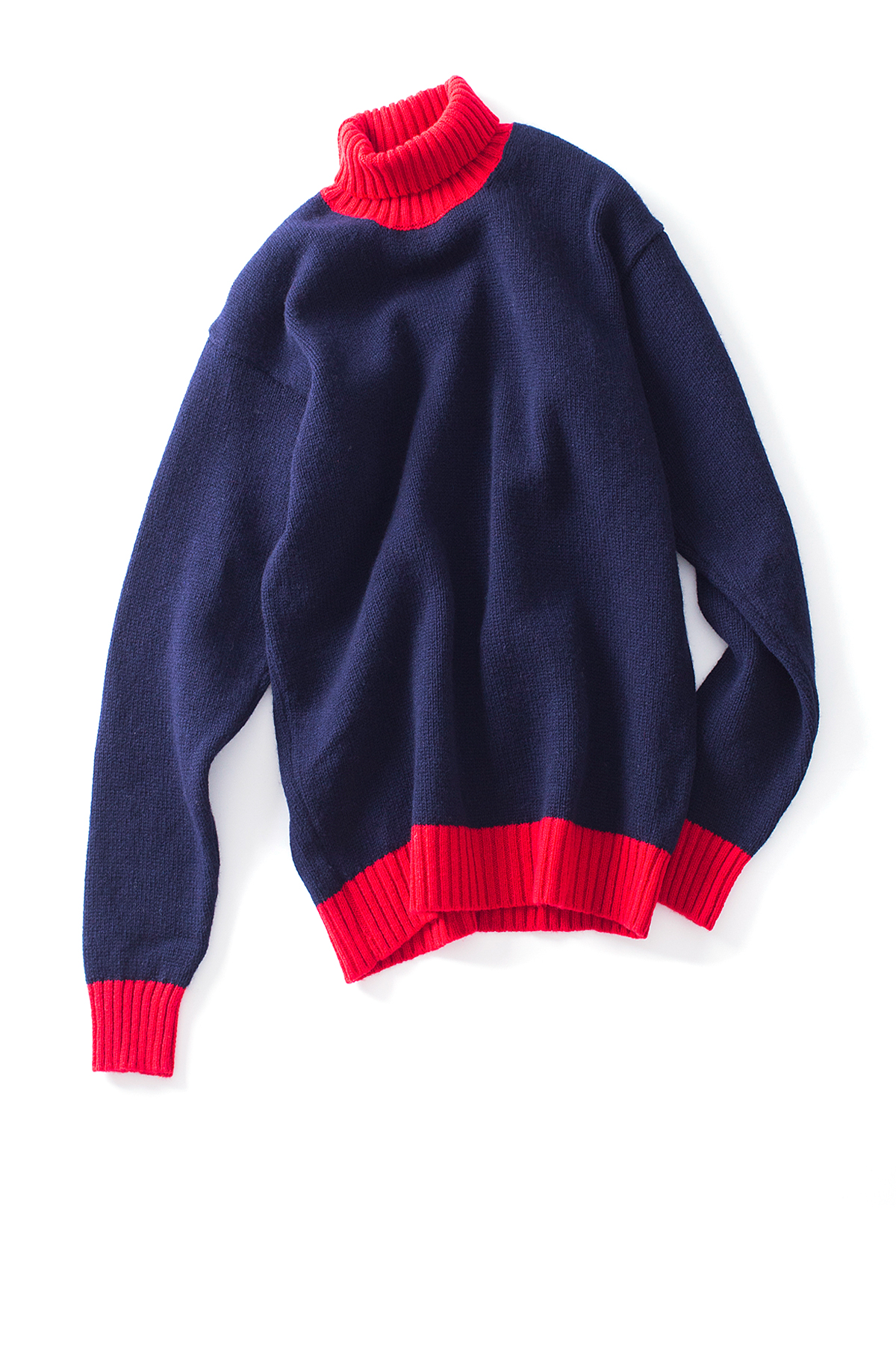 Country of Origin : Turtle Neck (Navy / Red)