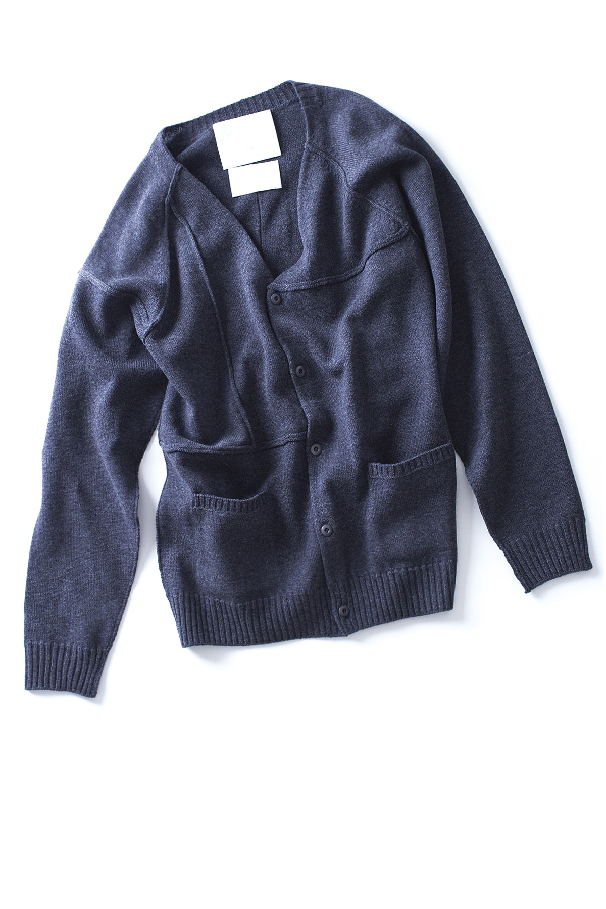 WHITE MOUNTAINEERING : Contrast Knit Cardigan (Grey)