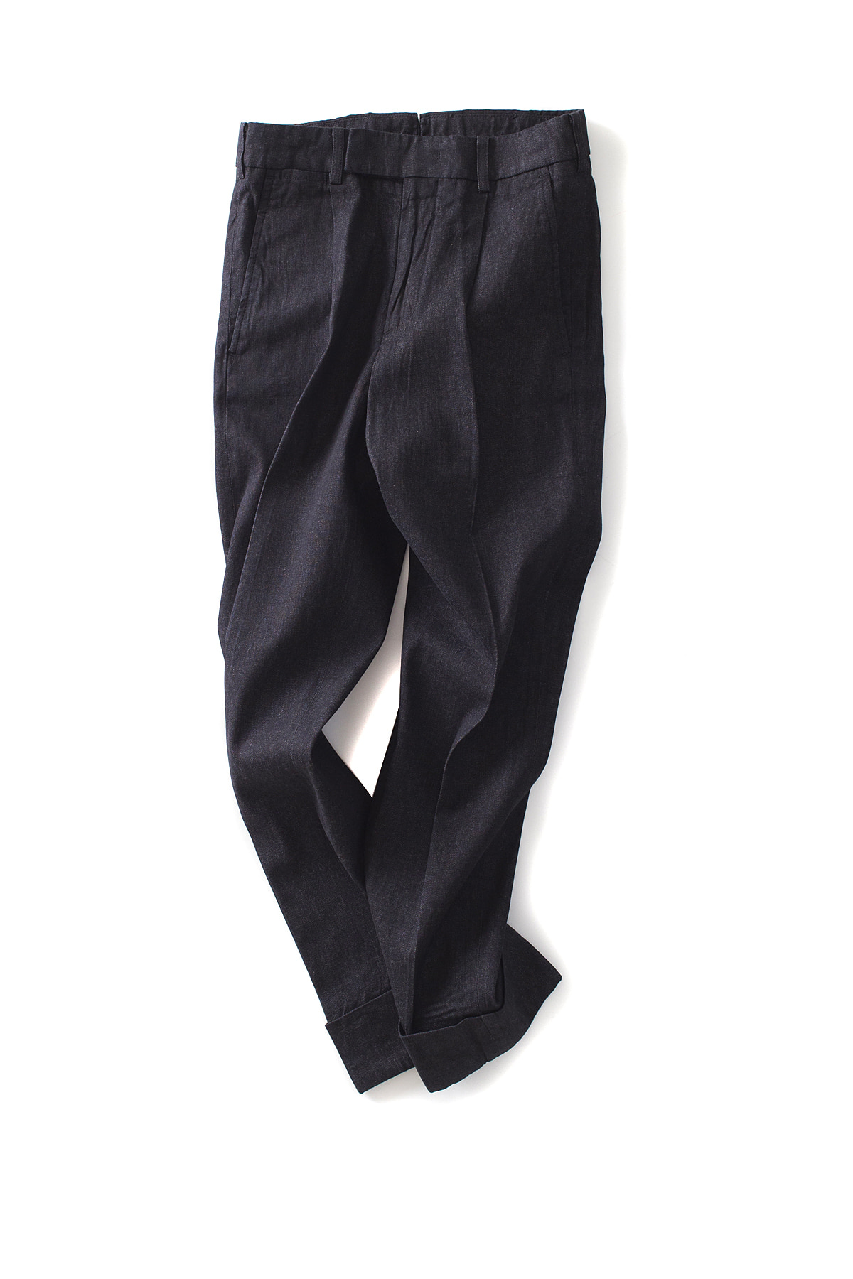 IKHENATON : Denim 1-Tuck Pants (Black)