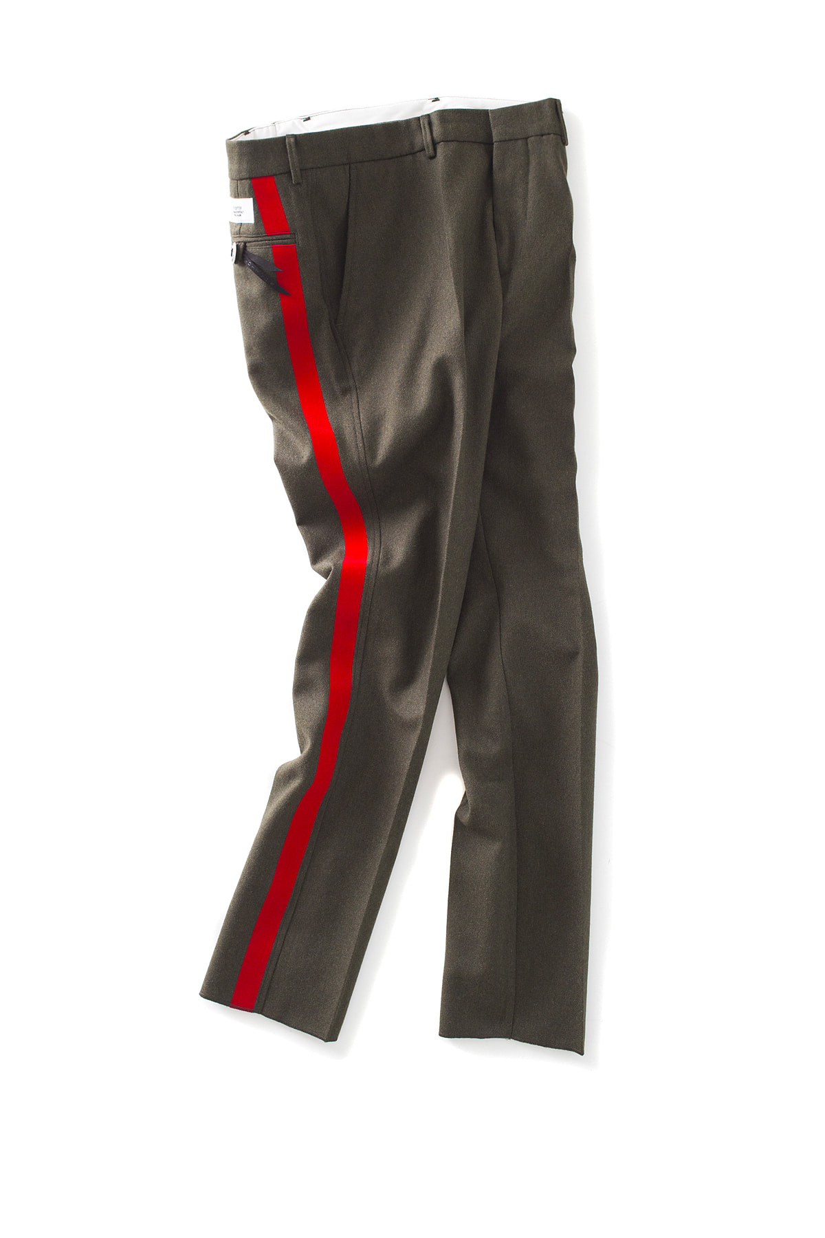 THE EDITOR : Line Wool Trouser (Khaki x Red Line)