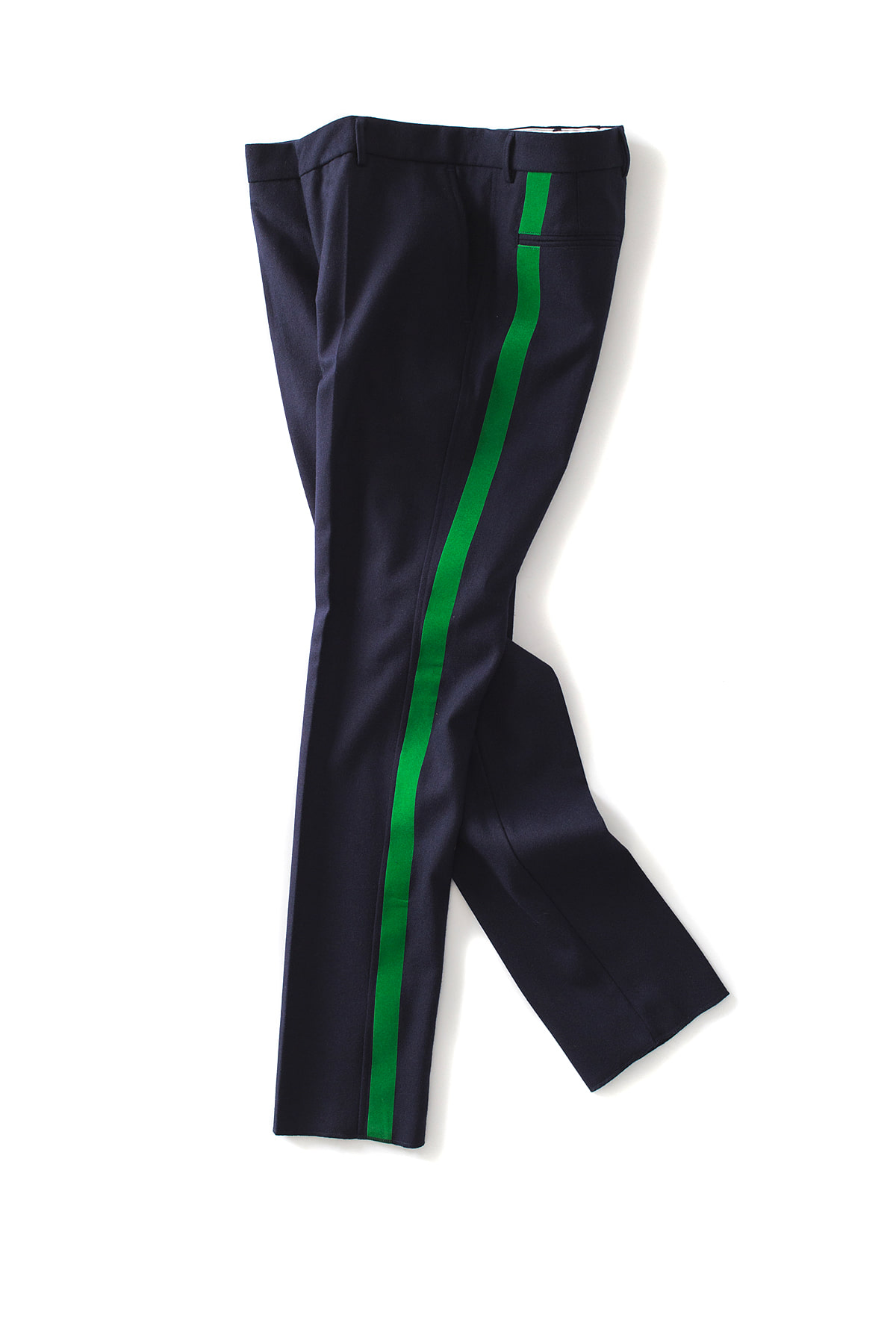 THE EDITOR : Line Wool Trouser (Navy x Green Line)