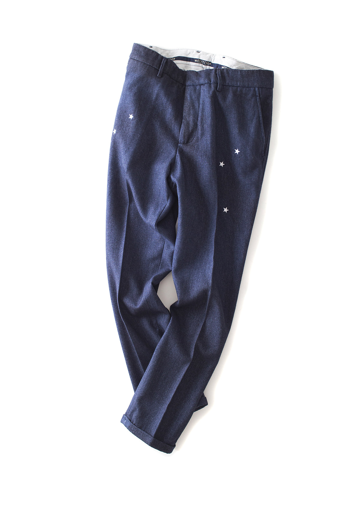 THE EDITOR : Star Embroidered Trouser (Navy)