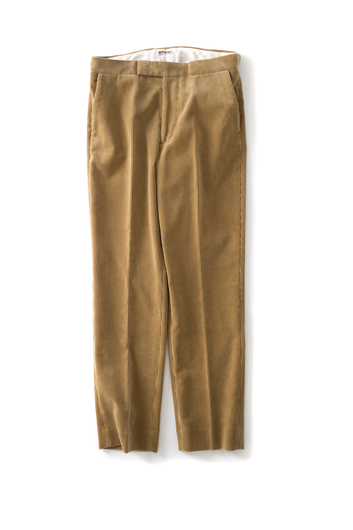 Auralee : Washed Corduroy Tapered Slacks (Camel Beige)
