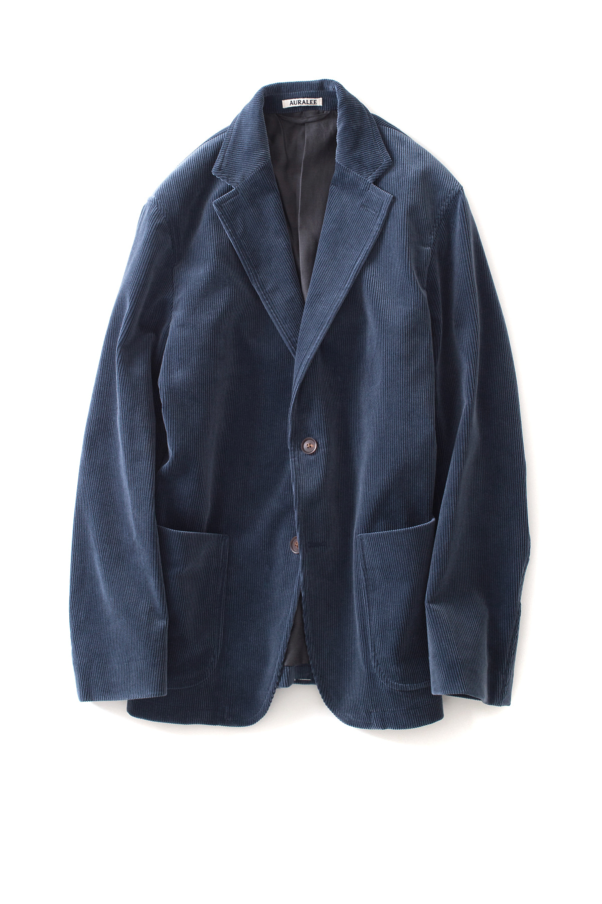 Auralee : Washed Corduroy Jacket (Dark Blue)