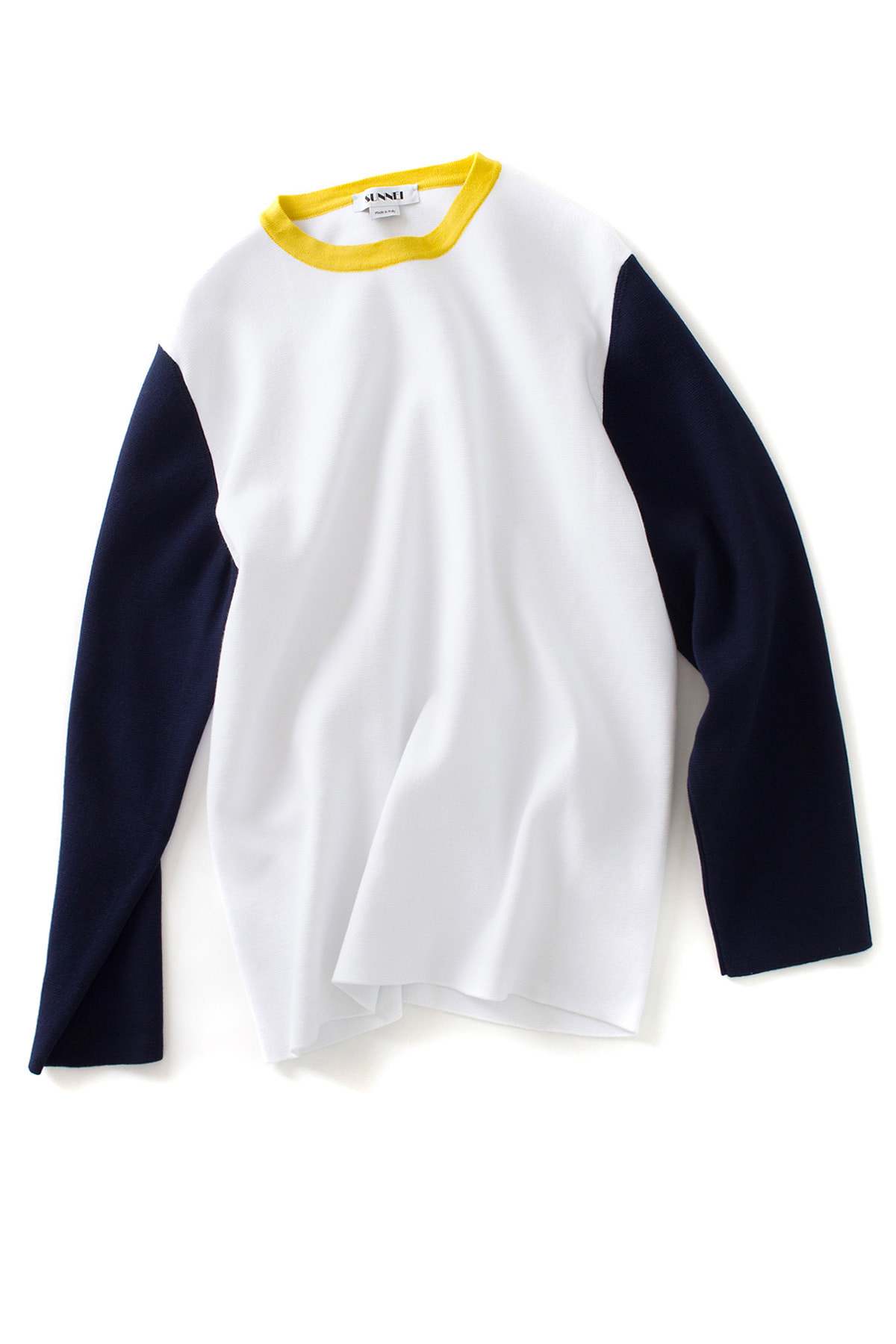 SUNNEI : Long Sleeve Knit T-Shirt  (White / Blue / Yellow)