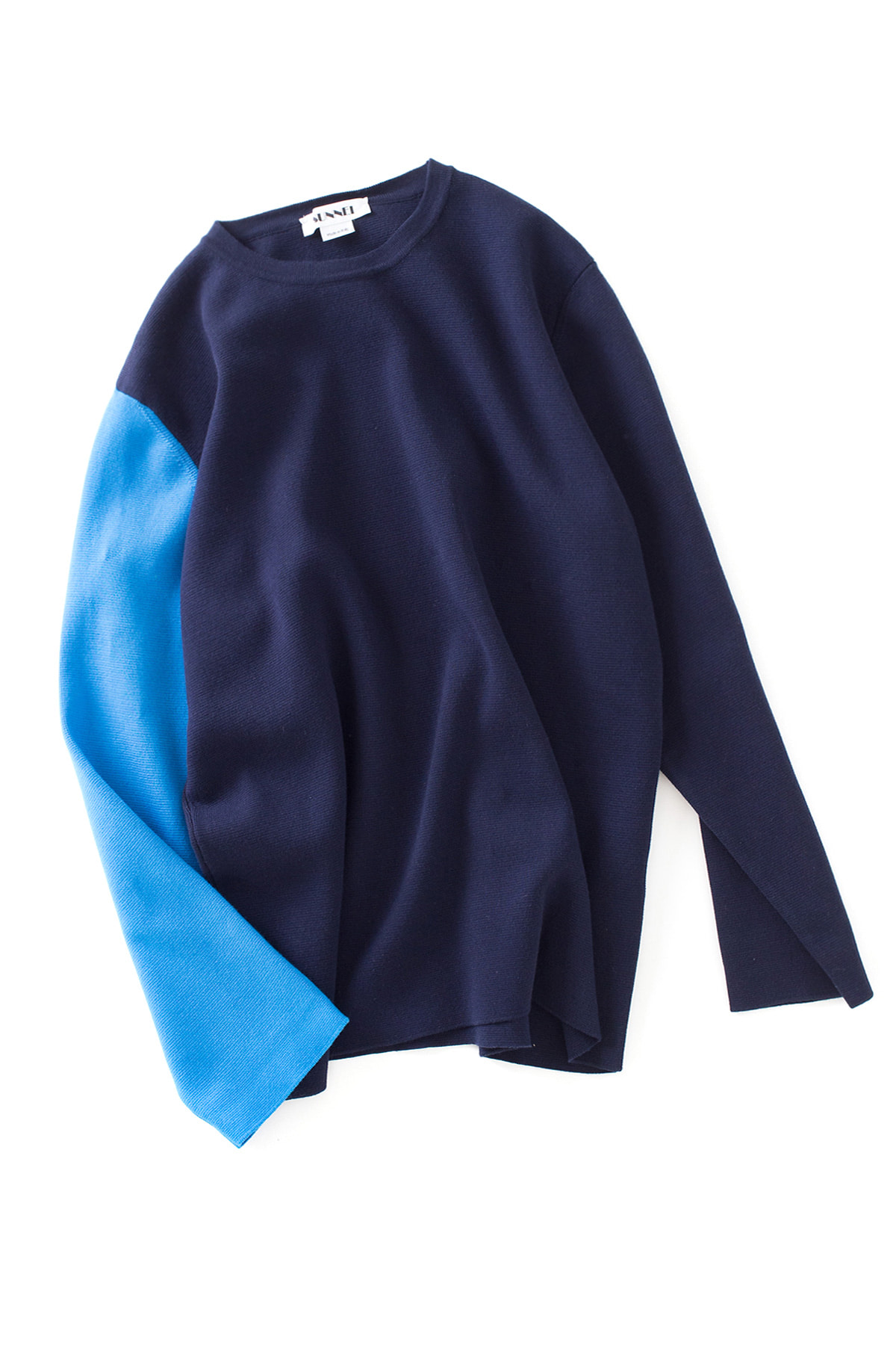 SUNNEI : Long Sleeve Knit T-Shirt (Blue / Azure)