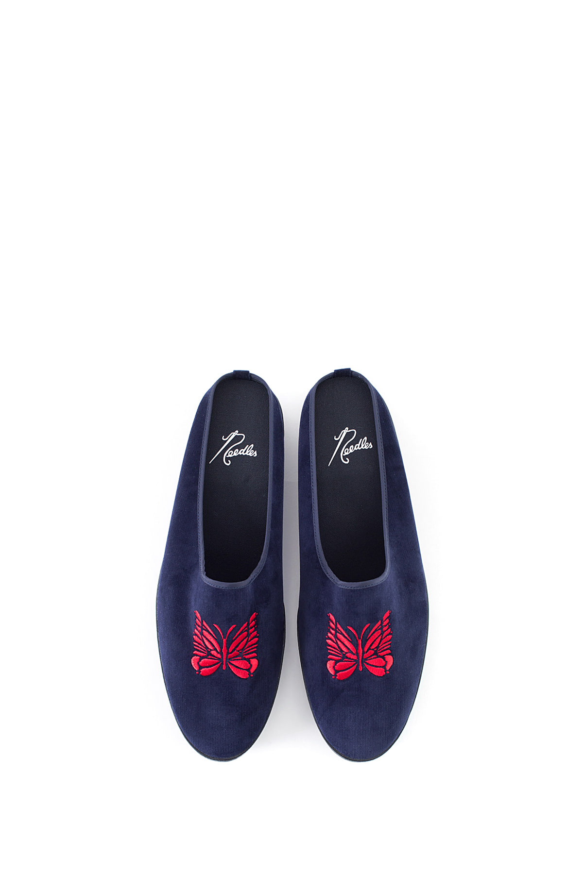 NEEDLES : Papillon Emb. Velveteen Mule (Navy)