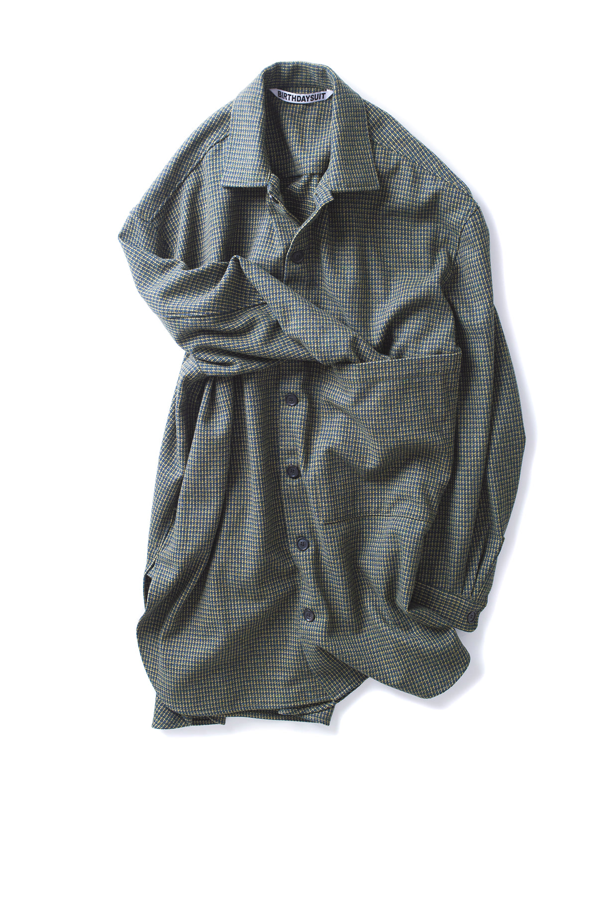 BIRTHDAYSUIT : Oversized Check Shirt Coat (Green)