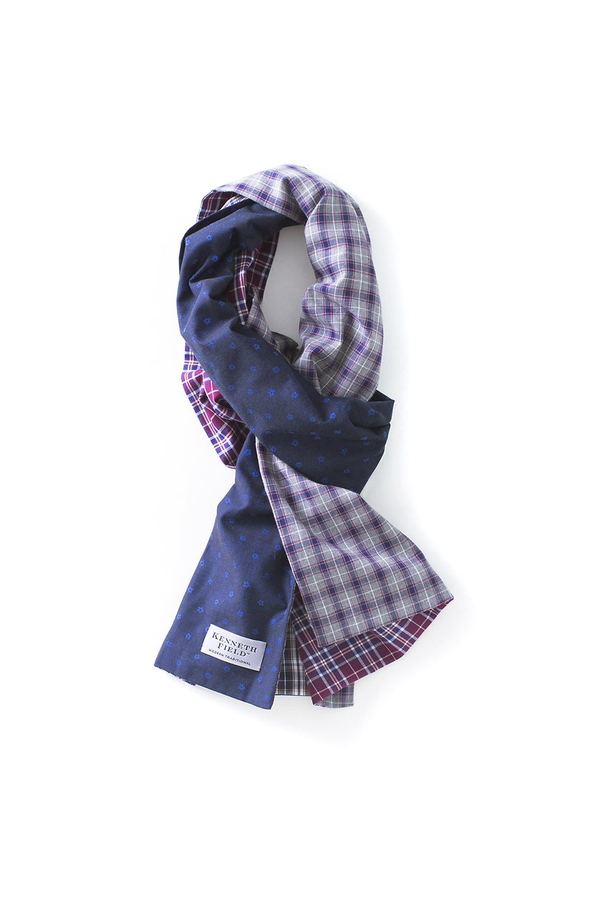 Kenneth Field : 4-Way Woven Scarf (Wine Check)