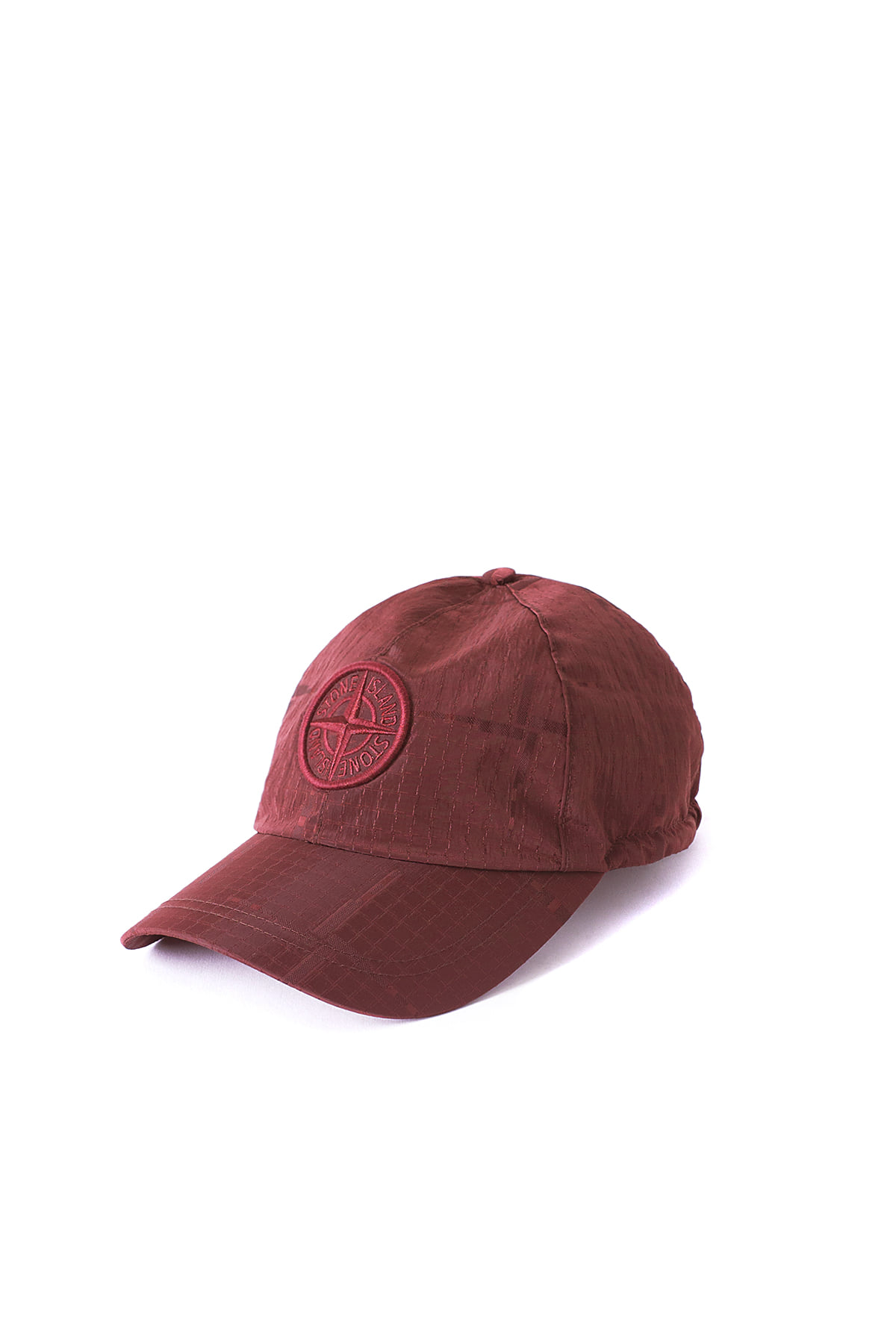 Stone Island : SI HOUSE CHECK JACQUARD ON NYLON METAL CAP (Burgundy)