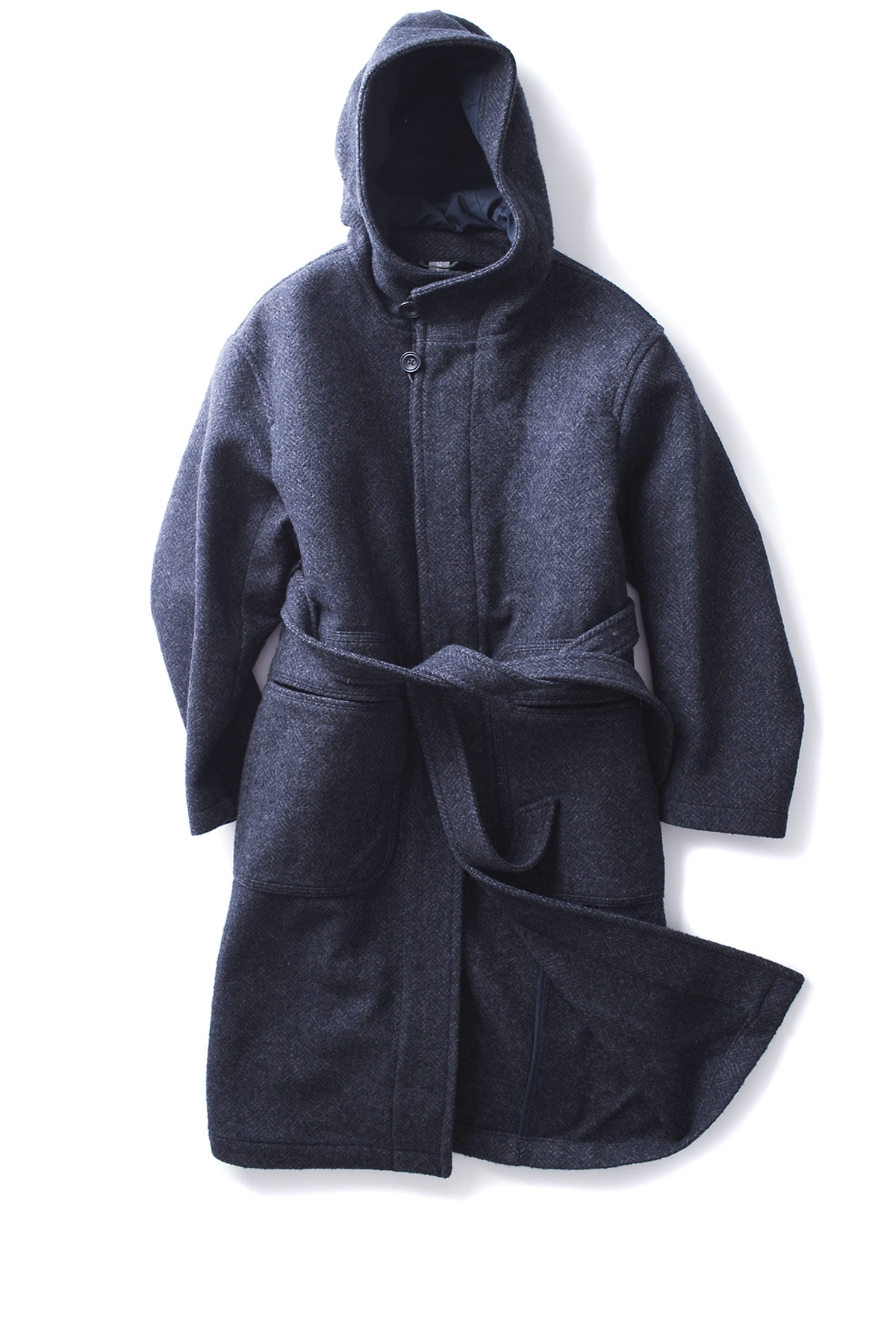 UNAFFECTED : Hooded Robe Coat (Navy HB Wool)