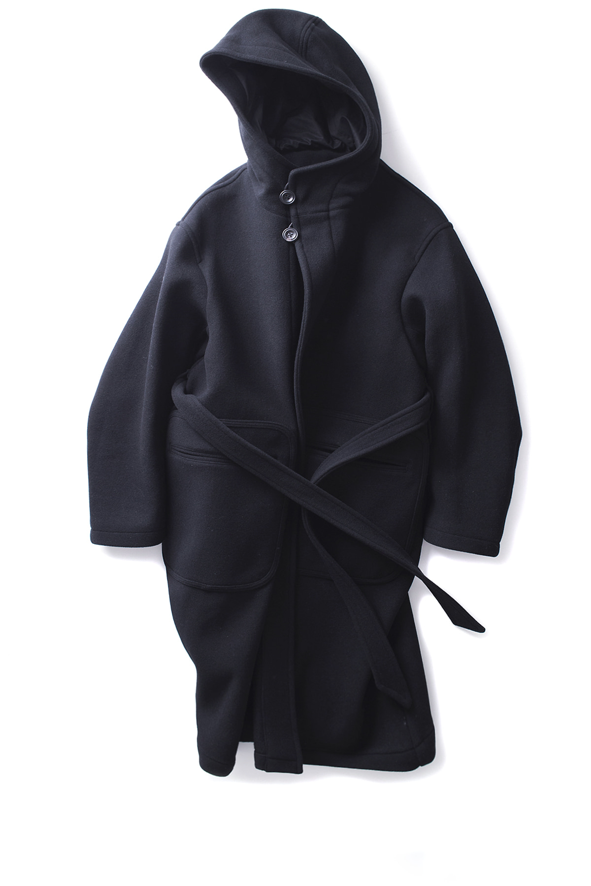 UNAFFECTED : Hooded Robe Coat (Black Wool)