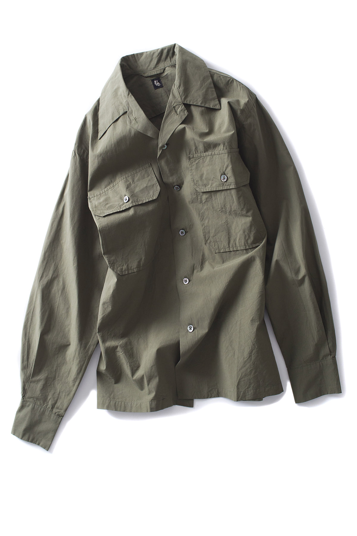 Kaptain Sunshine : Utility Open Collar Shirt (Olive)