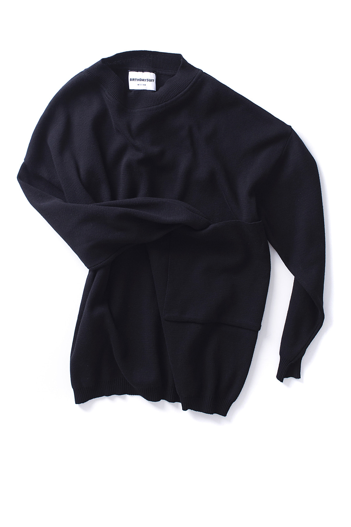 BIRTHDAYSUIT : Big Pocket Knit Pullover (Black)
