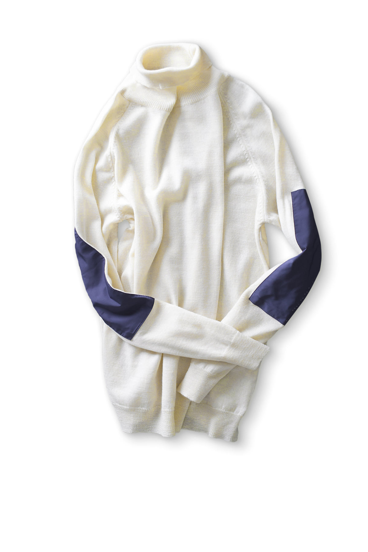 forumwear : Wool Roll Neck Elbow Patch Sweater (Ivory)