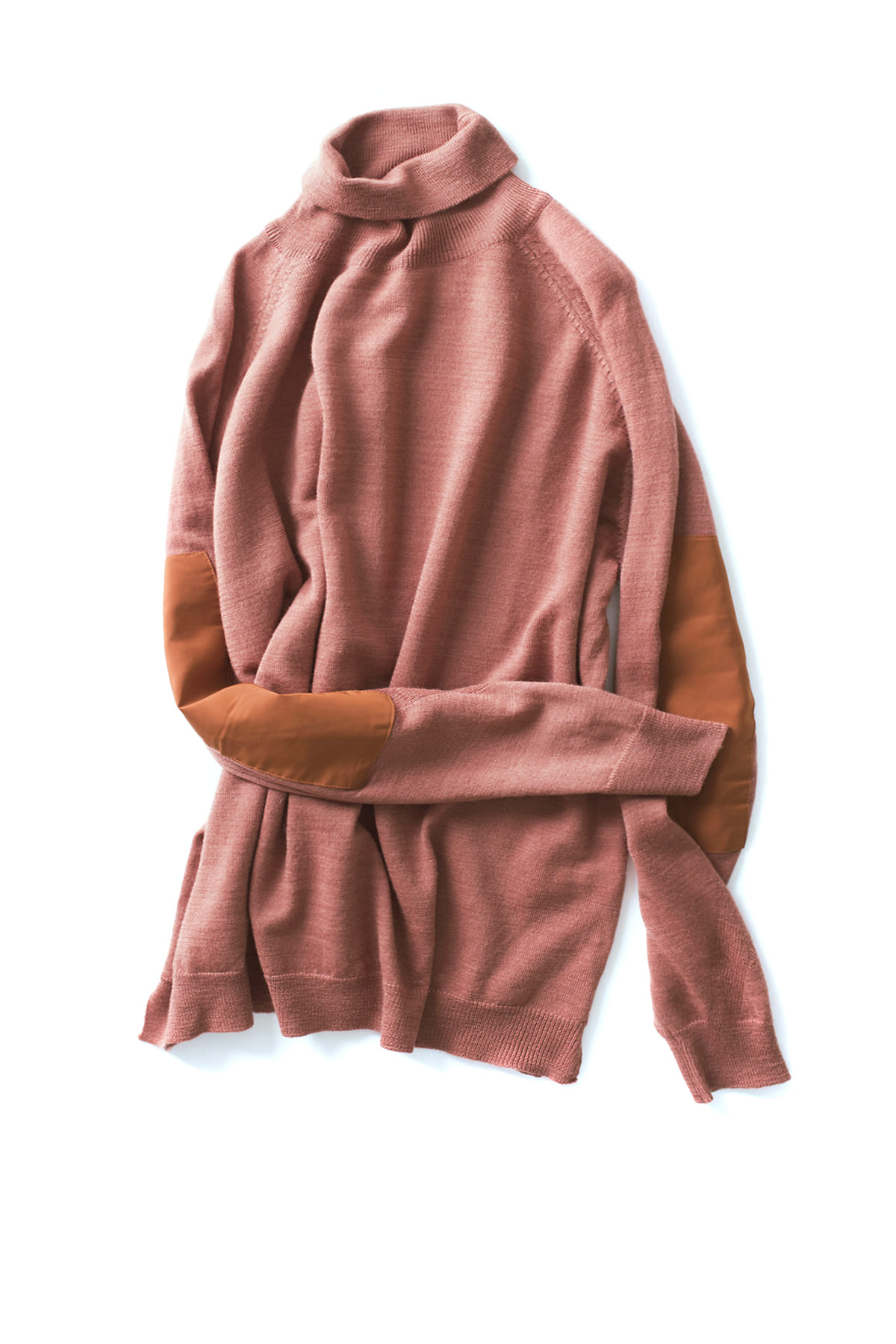 forumwear : Wool Roll Neck Elbow Patch Sweater (Coral)