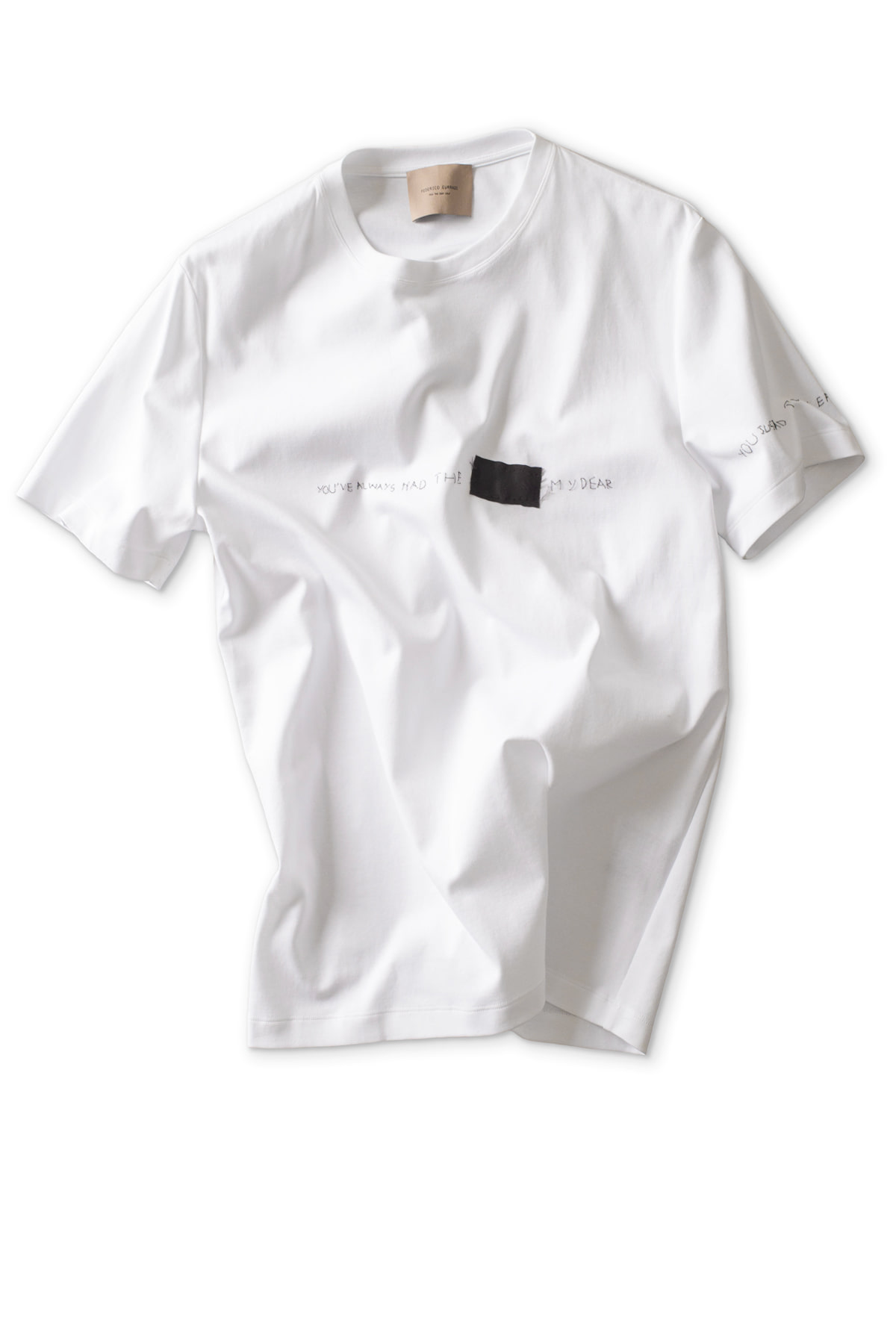 Federico Curradi : T-shirt With Embroidery Silk Patch (White)