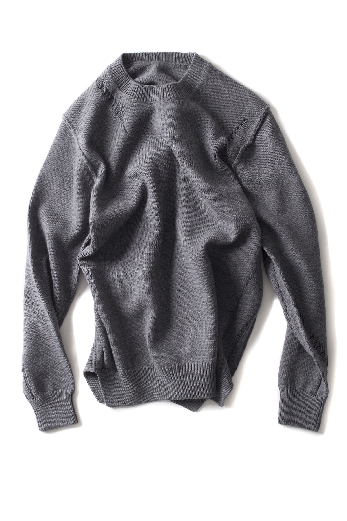 ATTACHMENT / KAZYUKI KUMAGAI : Wool Cord Crewneck Pullover (Grey)
