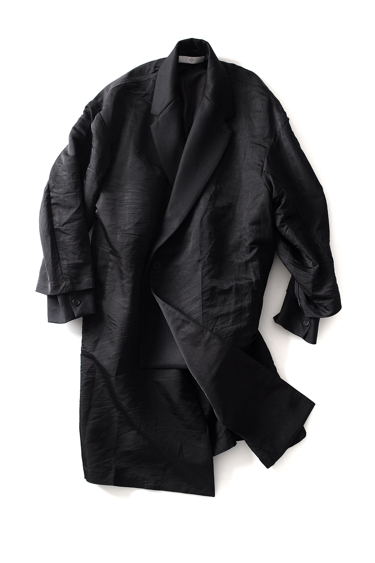 ETHOSENS : Layered Double Breasted Coat (Black)