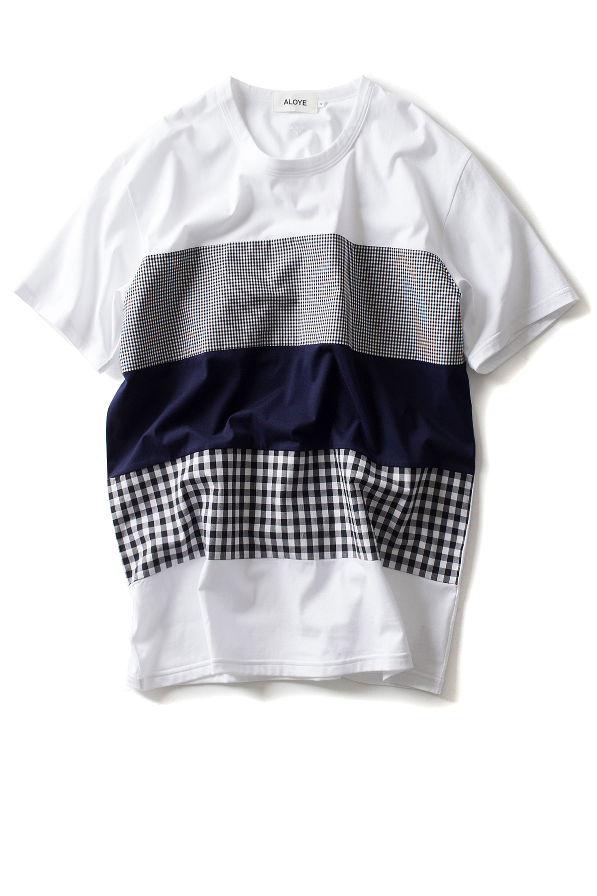 ALOYE : Shirt Fabrics - Short Sleeve T-Shirt (Black Gingham)