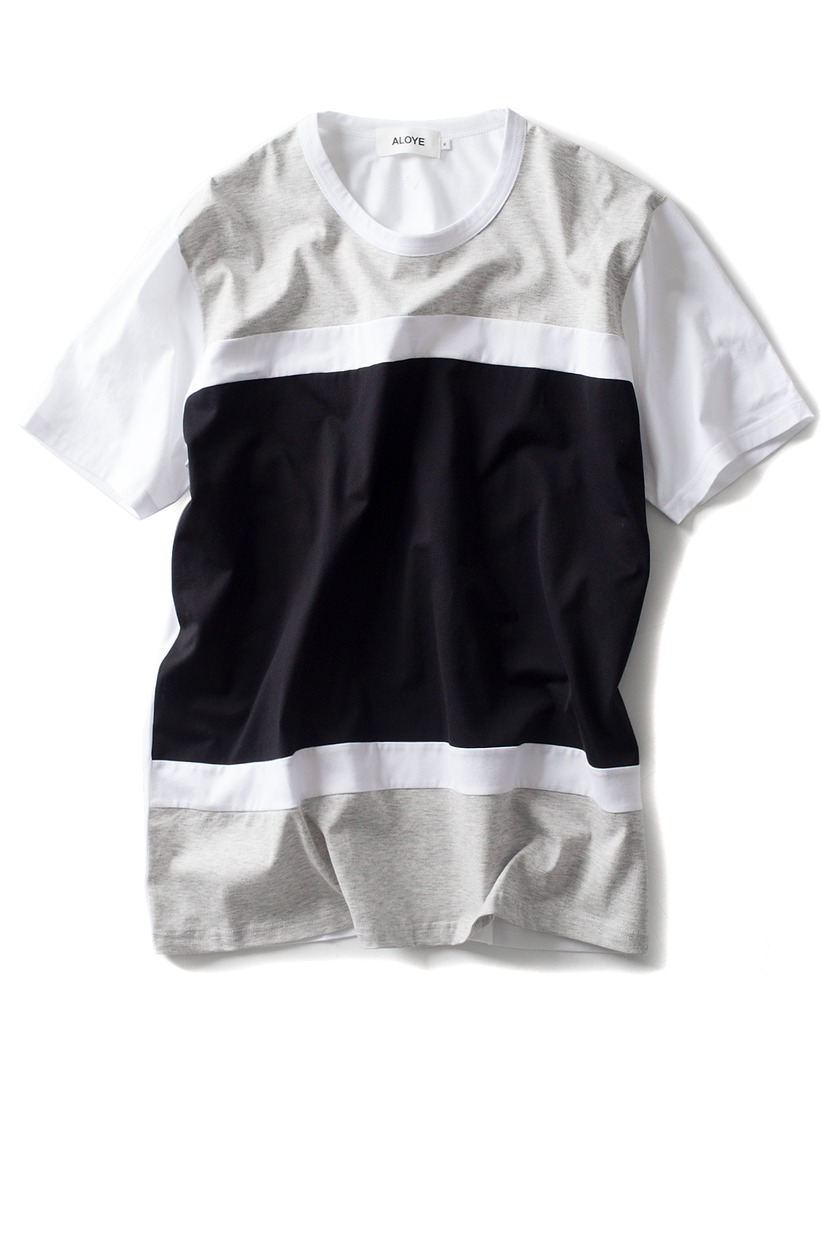 ALOYE : Color Blocks -Short Sleeve T-Shirt (Grey / Black)