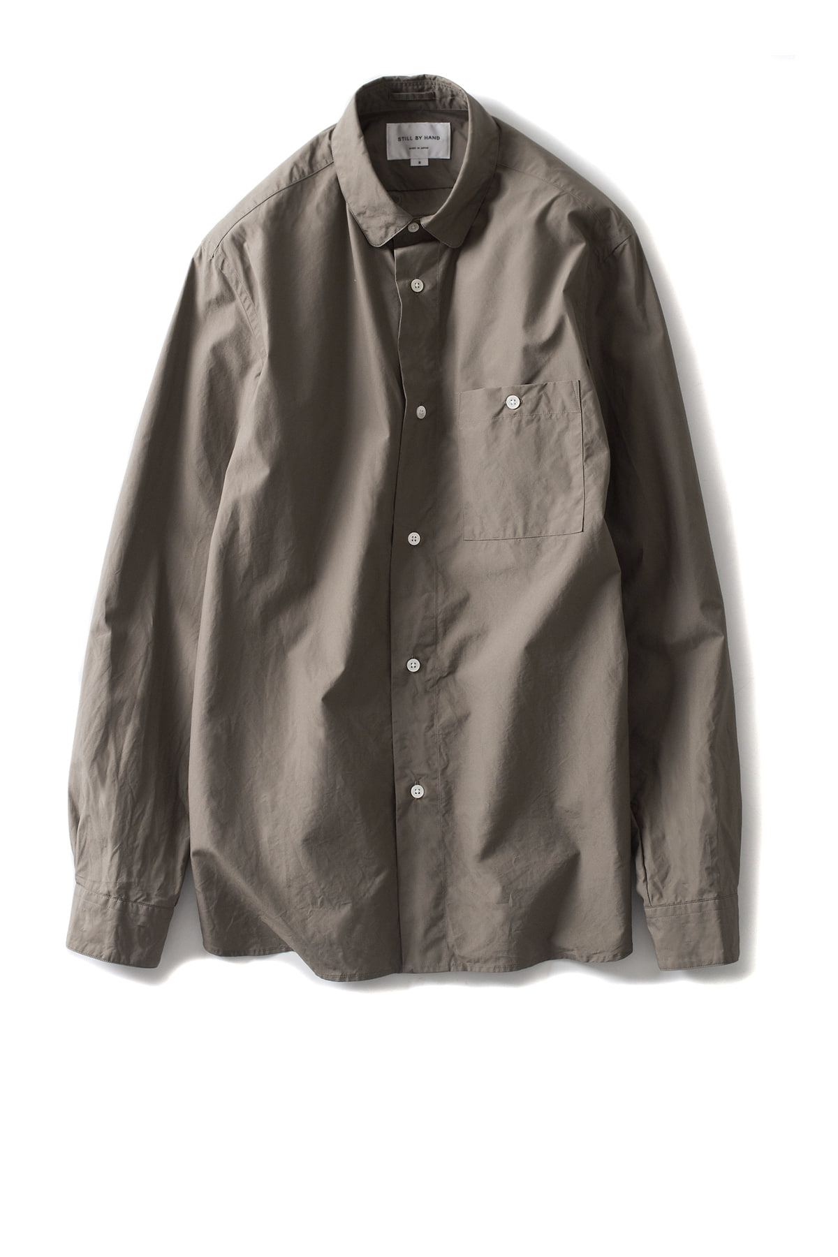 Still by Hand : Round Collar Shirt (Khaki)