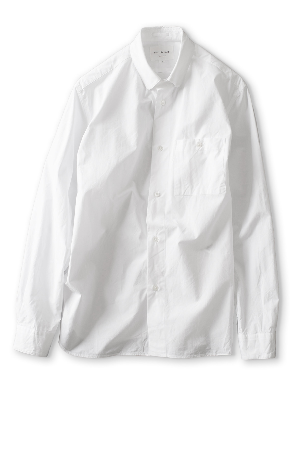 Still by Hand : Round Collar Shirt (White)