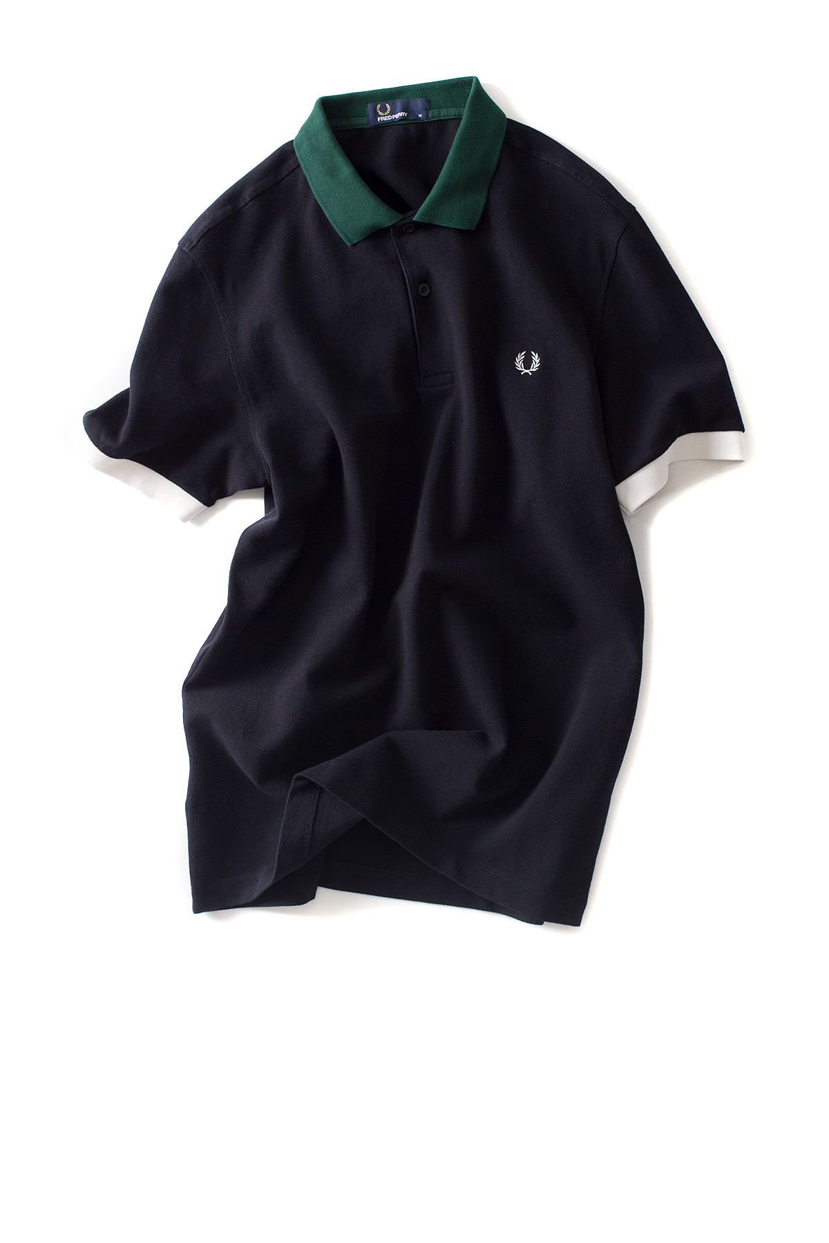 FRED PERRY : Colour Block Pique Shirt (Black)