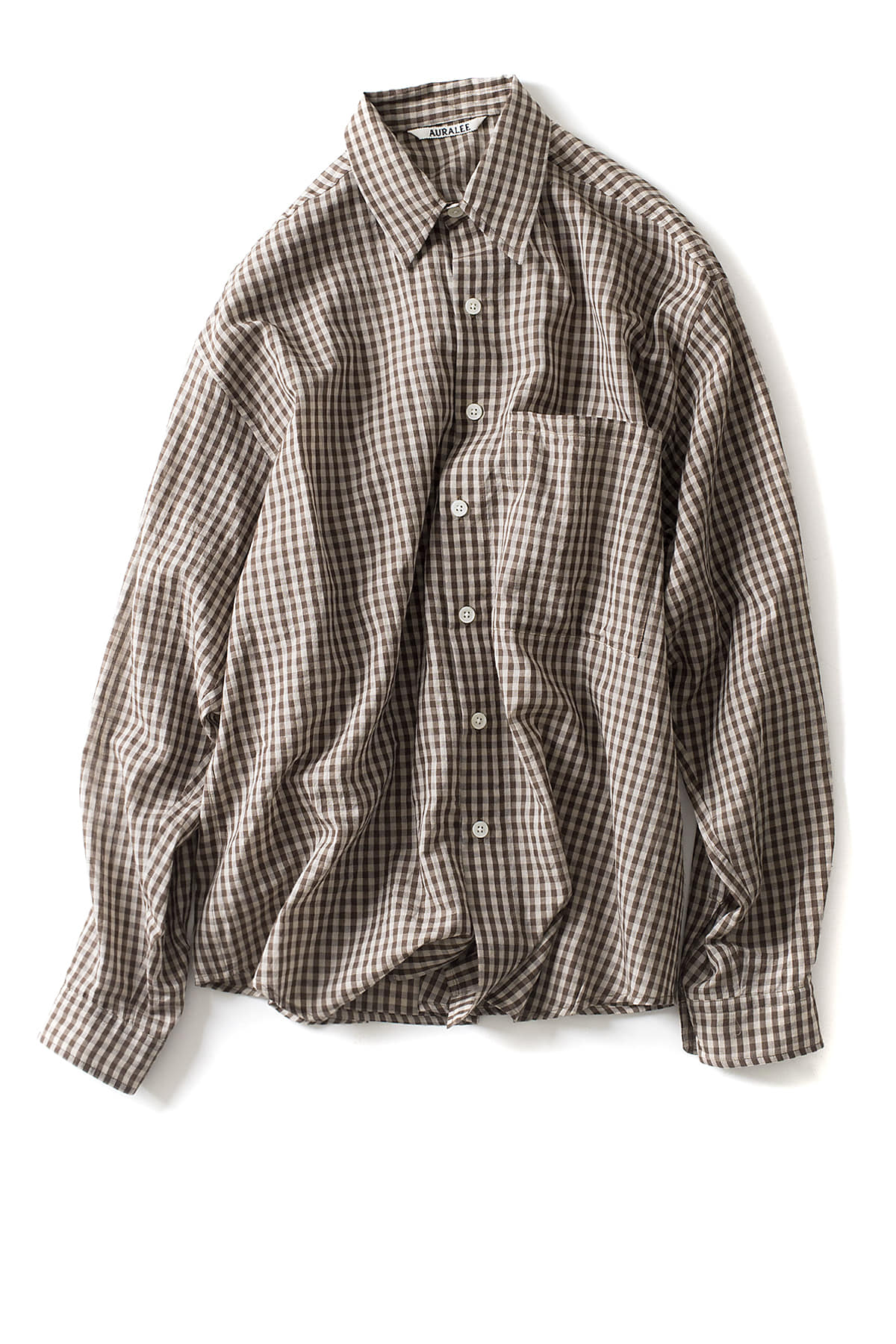 Auralee : Super Light Check Big Shirts (Gingham)